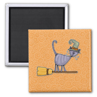 broomstick kitty square magnet