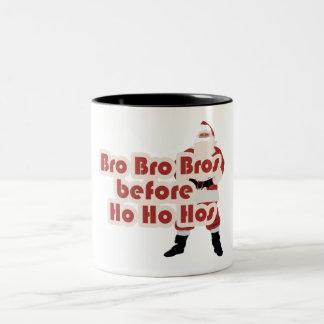 Bros before Ho Ho Hoes for Santa Clause Two-Tone Mug