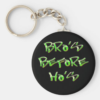 Bro's Before Ho's Basic Round Button Key Ring