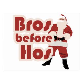 Bros Before Hos Santa Postcard