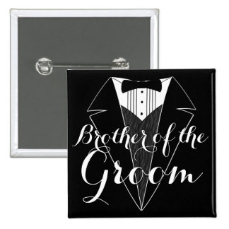 Brothe of the Groom Black Tux Wedding Party Button