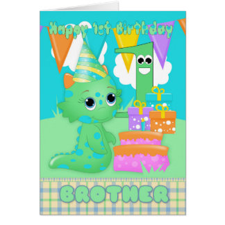 Brother 1st Birthday Cute Little Monster With Gift Card