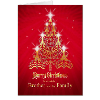 Brother and family, Christmas tree Christmas card