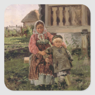 Brother and Sister, 1880 Square Sticker
