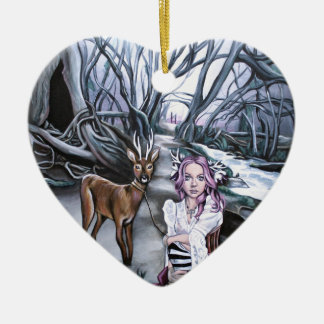 brother and sister ceramic heart decoration