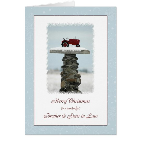 Brother and Sister in Law Christmas Tractor Card