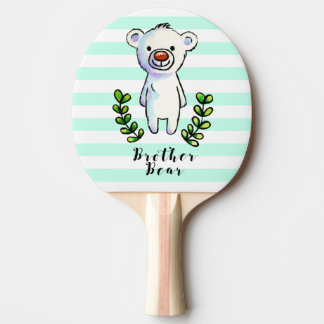 Brother Bear Ink and Watercolor Illustration Ping Pong Paddle