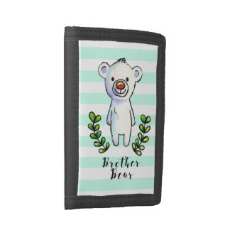 Brother Bear Ink and Watercolor Illustration Trifold Wallet
