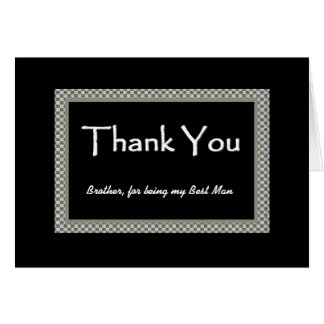 BROTHER Best Man - Checkerboard Wedding THANK YOU Card