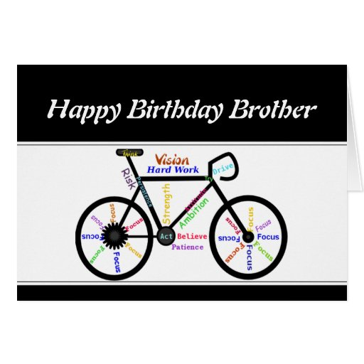 Brother Birthday Motivational Bike Bicycle Cycling Cards