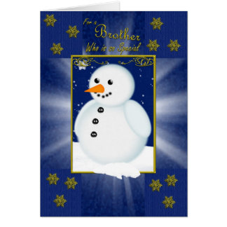 brother christmas card, blue with snowman greeting card