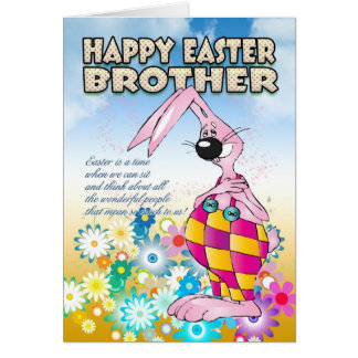 Brother Easter Card - Easter Bunny Flowers