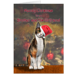 Brother & girlfriend, funny cat in a Christmas hat Card