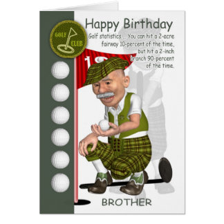 Brother Golfer Birthday Greeting Card With Humor