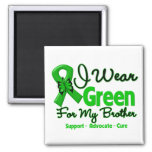 Brother - Green  Awareness Ribbon Square Magnet
