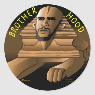 Brother Hood black Round Sticker