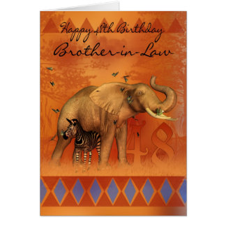 Brother In Law 48th Birthday Card - Animals