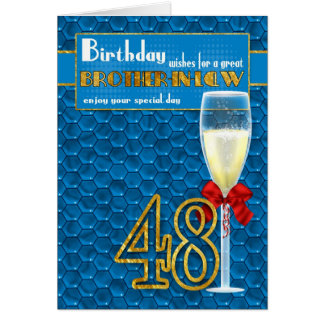 Brother In Law 48th Birthday Card - Champagne Glas
