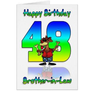 Brother In Law 48th Birthday Card - Dog With Two B