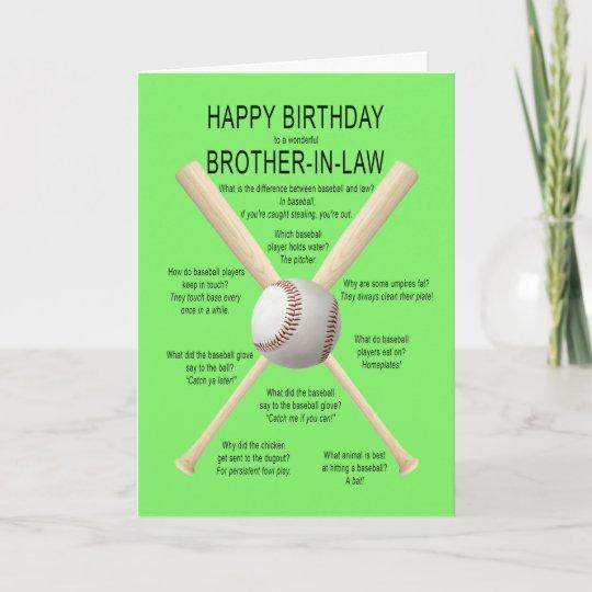 Brother In Law Birthday Baseball Jokes Card