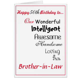 brother in law birthday card. 50th male.boys card
