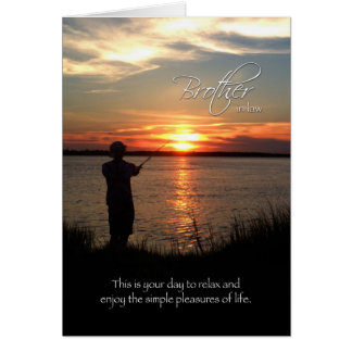 Brother-in-Law Birthday, Sunset Fishing Silhouette Greeting Cards