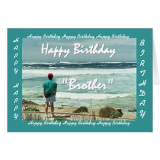 BROTHER-IN-LAW Happy Birthday Man and Ocean Waves Greeting Card