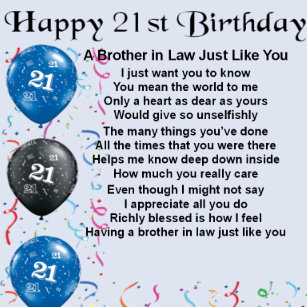 Brother In Law Poem 21st Birthday Gift Box
