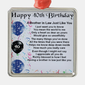 Brother in Law Poem 40th Birthday Christmas Ornament