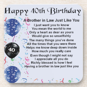 Brother In Law Poem 40th Birthday Coaster