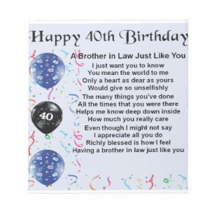 Brother In Law Poem 40th Birthday Notepad
