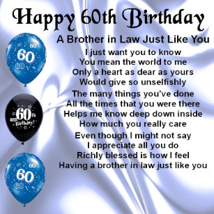Brother In Law Poem 60th Birthday Gift Box