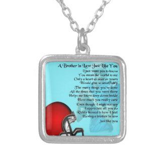 Brother in Law Poem - American Football Square Pendant Necklace
