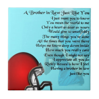 Brother in Law Poem - American Football Tile