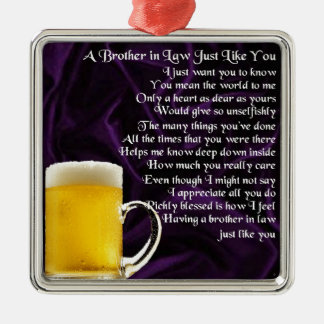 Brother in Law Poem - Beer Design Silver-Colored Square Decoration