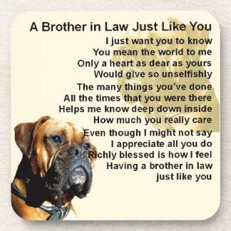 Brother in Law Poem - Boxer Dog Beverage Coaster