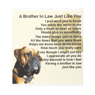 Brother in Law Poem - Boxer Dog Notepad