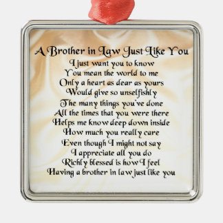 Brother in Law Poem - Cream Silver-Colored Square Decoration