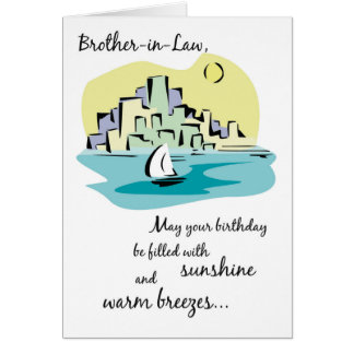 Brother-in-Law Sailboat City Birthday Greeting Card