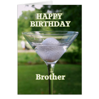 Brother Martini Golf Ball Happy Birthday Card