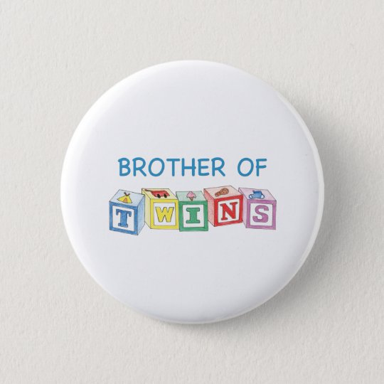 Brother of Twins Blocks 6 Cm Round Badge