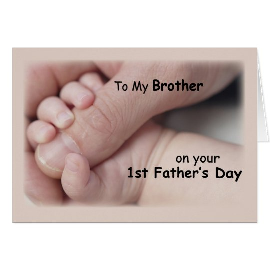 Brother on First Father's Day, Baby Hands Holding