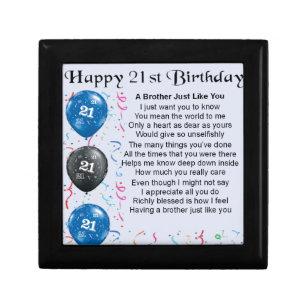 Brother Poem 21st Birthday Gift Box