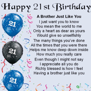 Brother Poem 21st Birthday Gift Box