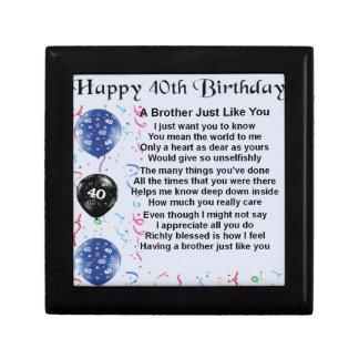 Brother poem 40th Birthday Gift Box