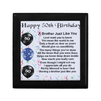 Brother Poem 50th Birthday Small Square Gift Box