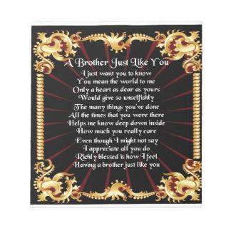Brother Poem - Black design Notepad