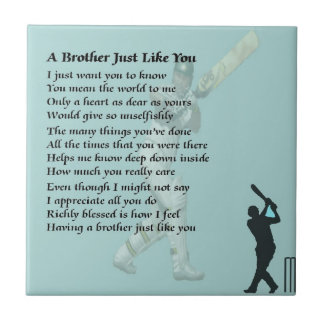 Brother Poem - Cricket Small Square Tile