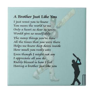 Brother Poem - Cricket Tile