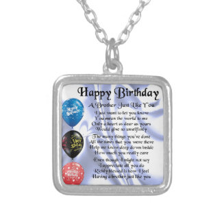 Brother Poem  Happy Birthday Silver Plated Necklace